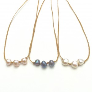Three Pearl Lei Necklace