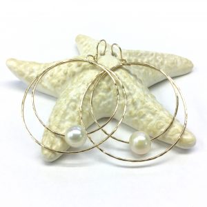 Double Hoola Hoops with Fresh Water Pearl