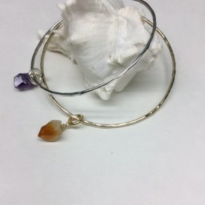 Crystal Point Charm Bangle